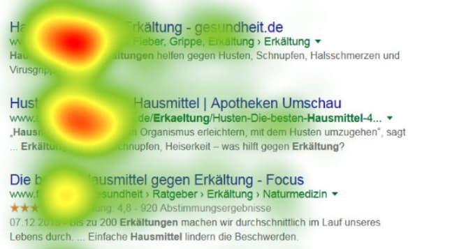 Eyetracking Studie über die Suchergebnisse von usability.deSerps