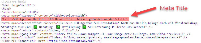 Meta Title HTML Code