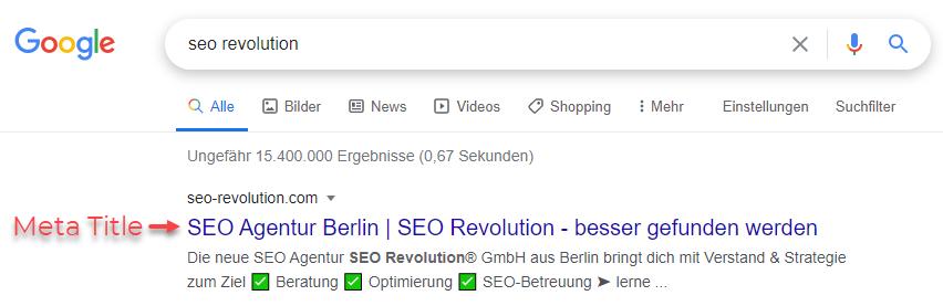 Meta Title in den Suchergebnissen